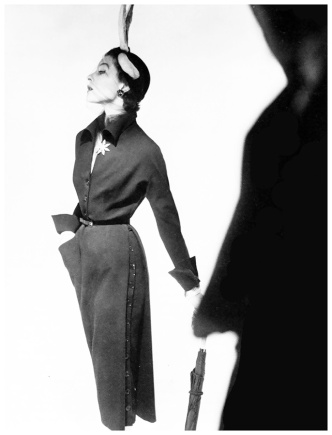 Bettina Modelling a jacques fath dress, photo by Horst-Vogue-1950