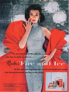 "Richard Avedon, Dorian Leigh en el famoso ""Fire and Ice"" de Revlon, 1952"
